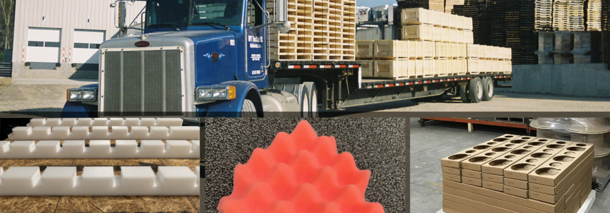 delivery truck, sample foam packaging, crate, wood corrugated
